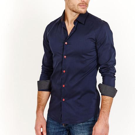 Bernard Long Sleeve Button-Up Shirt // Navy (Large)