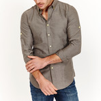 Andrew Long Sleeve Button-Up Shirt // Dusky Brown (Large)