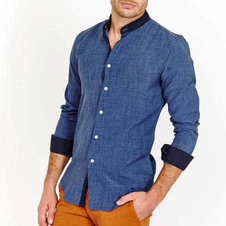 Nathan Long Sleeve Button-Up Shirt // Linen Blue (Small)