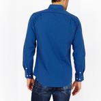 Grayson Checkered Long Sleeve Button-Up Shirt // Sapphire Blue (Large)