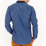 Nathan Long Sleeve Button-Up Shirt // Linen Blue (Large)