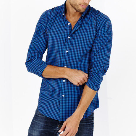 Grayson Checkered Long Sleeve Button-Up Shirt // Sapphire Blue (Large)