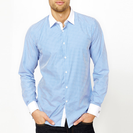 Brayden Long Sleeve Button-Up Shirt // Blue (Medium)