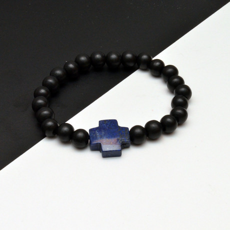 Lapis Lazuli Cross Beaded Bracelet // Black + Blue