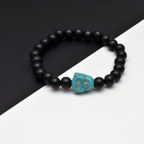 Teal Buddha Beaded Bracelet // Black + Blue