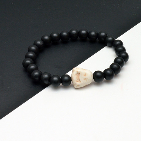 White Buddha Beaded Bracelet // Black + White