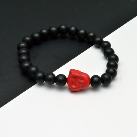 Red Buddha Beaded Bracelet // Black + Red