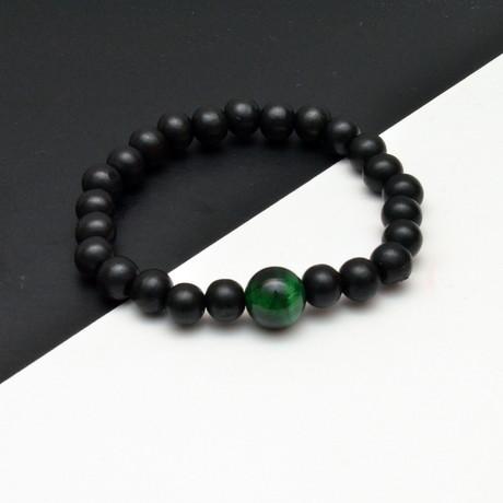 Tiger Eye Beaded Bracelet // Black + Green