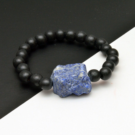 Lapis Lazuli Accent Beaded Bracelet // Black + Blue
