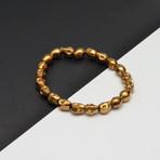 Gold Hematite Skull Beaded Bracelet // Gold