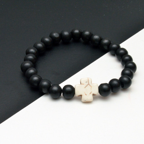 White Cross Beaded Bracelet // Black + White