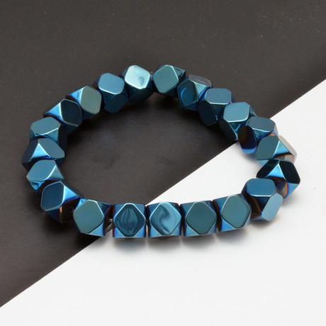 Blue Hematite Beaded Bracelet // Blue