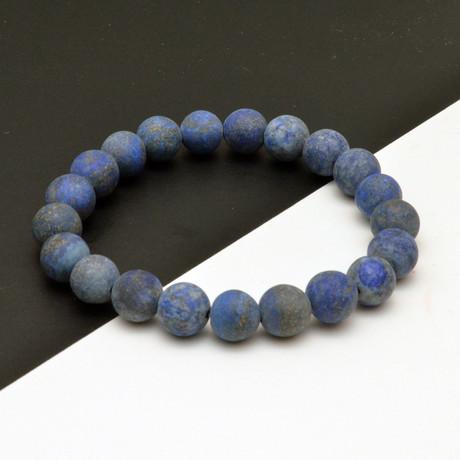 Frosted Lapis Lazuli Beaded Bracelet // Blue