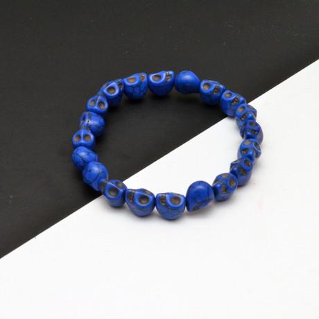 Skull Beaded Bracelet // Blue