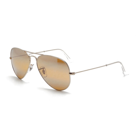 Unisex Aviator Large Sunglasses // Gold + Brown Mirror