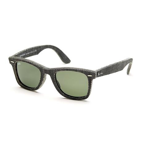 Unisex Wayfarer Sunlgasses // Black Denim + Green