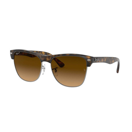 Unisex Polarized Clubmaster Oversized Sunglasses // Tortoise + Brown Gradient