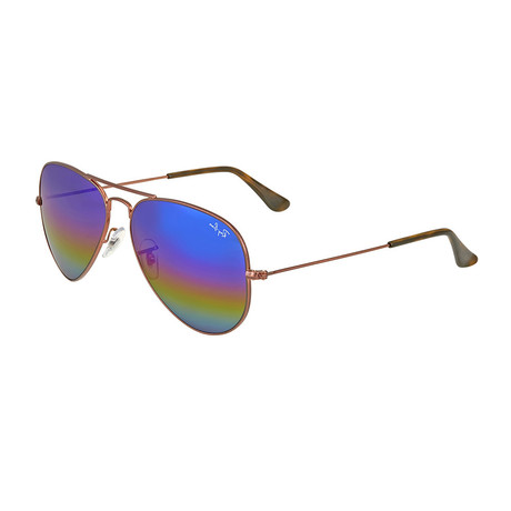 Men's Aviator Large Metal Sunglasses // Bronze + Light Gray Rainbow Mirror