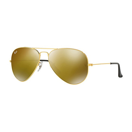 Unisex Aviator Large Metal Sunglasses // Gold + Gold Mirror