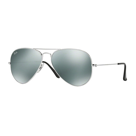 Unisex Aviator Large Metal Sunglasses // Silver + Silver Mirror II