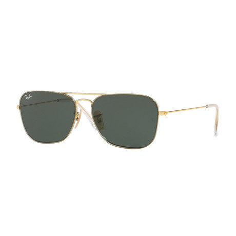 Unisex Rb3603 Metal Double Bridge Sunglasses // Gold + Green