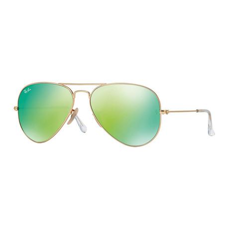 Unisex Aviator Large Metal Sunglasses // Gold + Green Miror