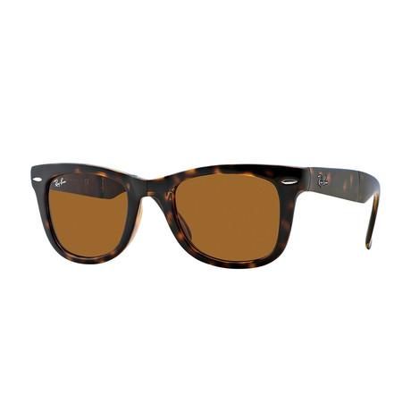 Unisex Folding Wayfarer Sunglasses // Tortoise + Brown