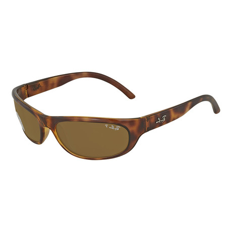 Unisex Tortoise Wrap Polarized Sunglasses // Tortoise + Brown