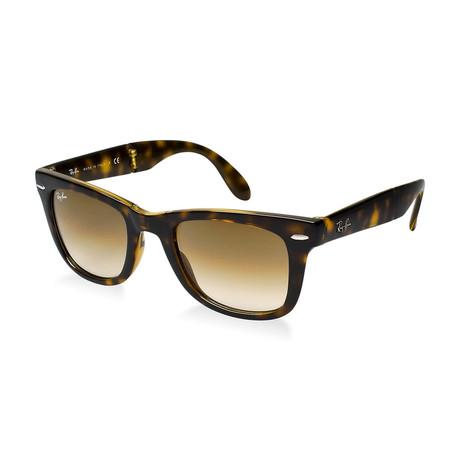 Unisex Folding Wayfarer Sunglasses // Tortoise + Brown Gradient