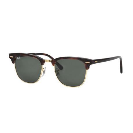 Unisex Clubmaster Sunglasses // Tortoise + Green Classic