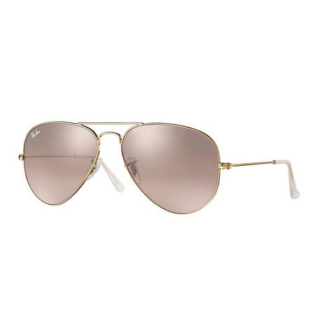 Unisex Aviator Large Metal Sunglasses // Pink + Gray Mirror