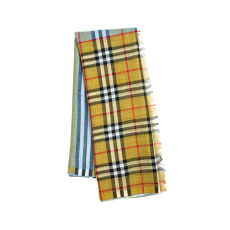 Burberry // Vintage Check Color Block Scarf // Brown