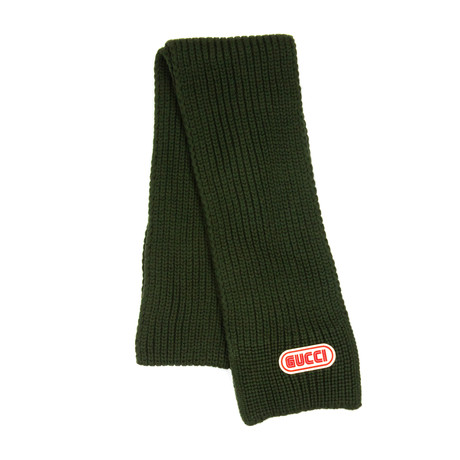 Gucci // Logo Plaque Knit Scarf // Green