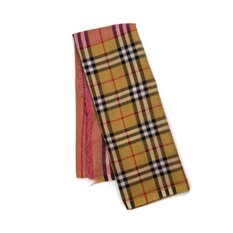 Burberry // Vintage Check Color Block Scarf // Pink