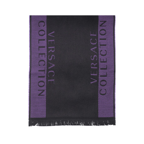 Versace Collection // Striped Wool Scarf // Purple + Black