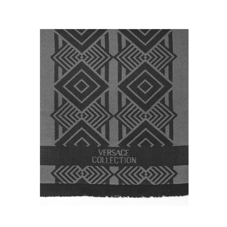 Versace Collection // Geometric Wool Scarf // Black + Gray