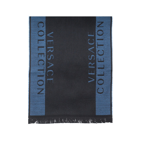 Versace Collection // Striped Wool Scarf // Navy Blue + Black