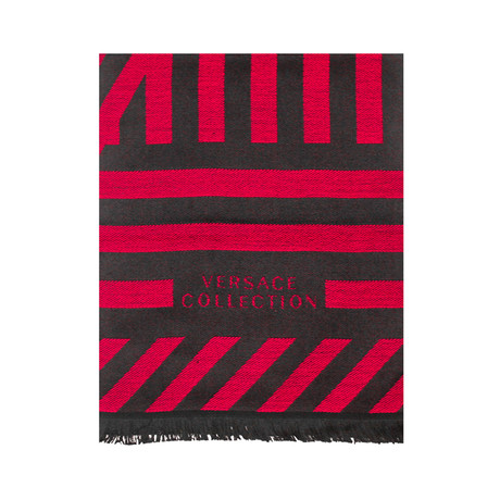 Versace Collection // Geometric Wool Scarf // Red + Black