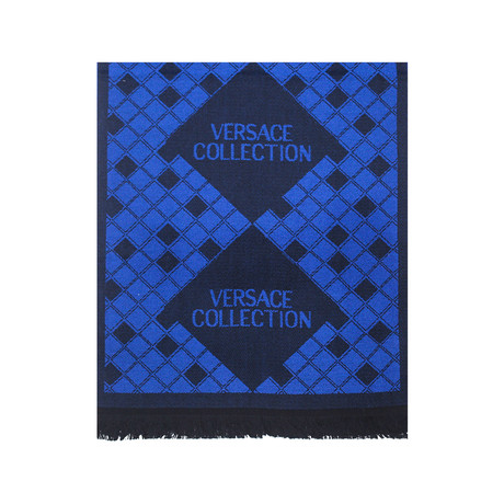 Versace Collection // Wool Scarf // Blue + Black
