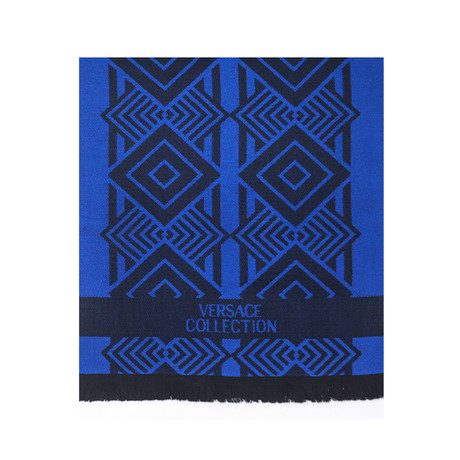 Versace Collection // Geometric Wool Scarf // Blue + Black