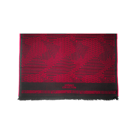 Versace Collection // Geometric Stripe Wool Scarf // Red + Black