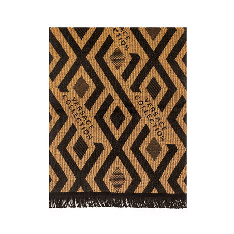 Versace Collection // Diamond Stripe Wool Scarf // Beige + Black