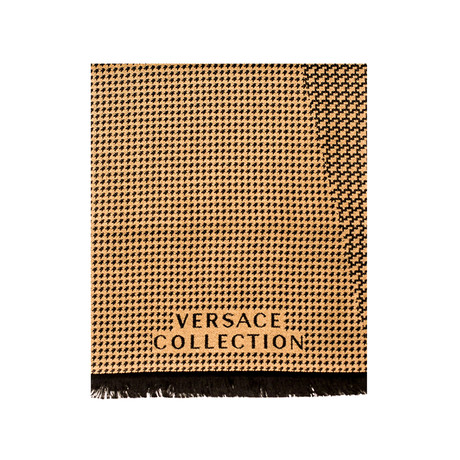 Versace Collection // Houndstooth Wool Scarf // Beige + Black