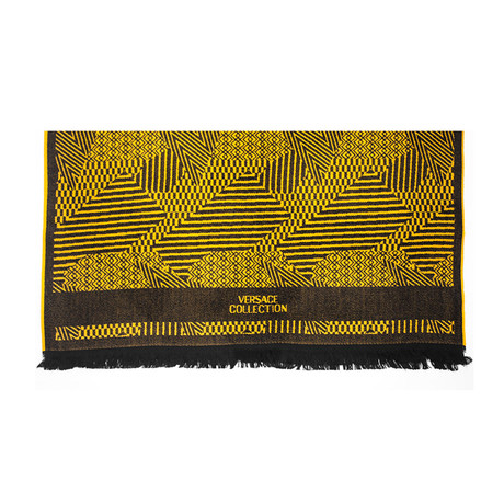 Versace Collection // Geometric Stripe Wool Scarf // Gold + Black
