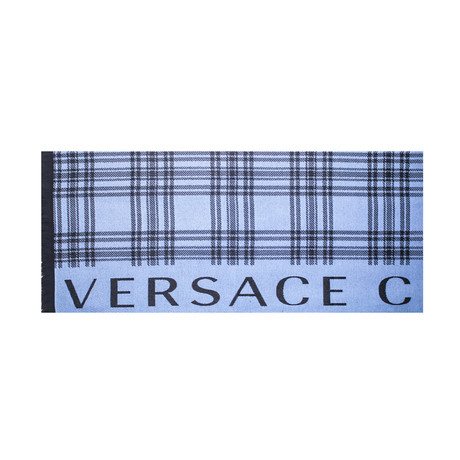 Versace Collection // Check Wool Scarf // Light Blue + Black
