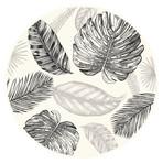 Sketched Tropical Leafs Vinyl Mat Rug