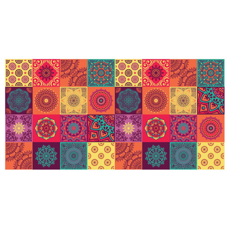 Colourful Mandala Tiles Rug Mat