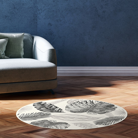 Sketched Tropical Leafs Vinyl Mat Rug