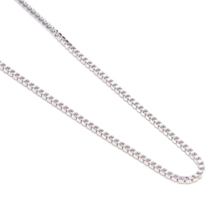 Modern Venetian Box Chain Necklace // 14K White Gold Plated
