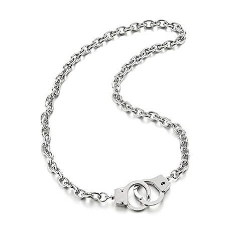 Stainless Steel Handcuff Pendant Necklace // Silver